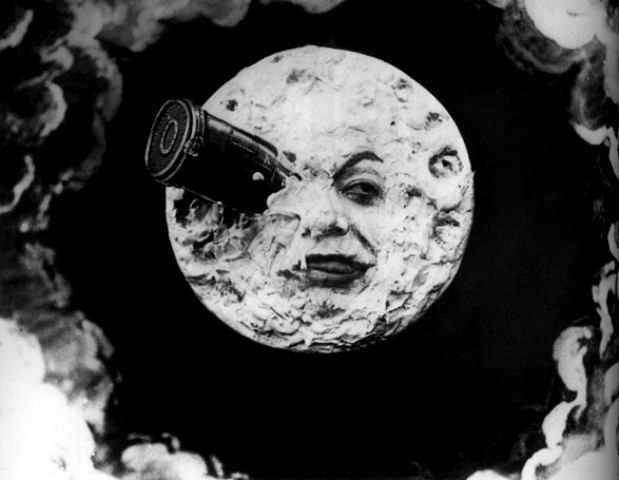 cinematic image of the moon from Melies' classic