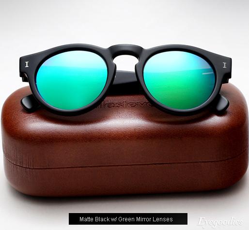 Illesteva-leonard-sunglasses-matte-black-with-green-mirror