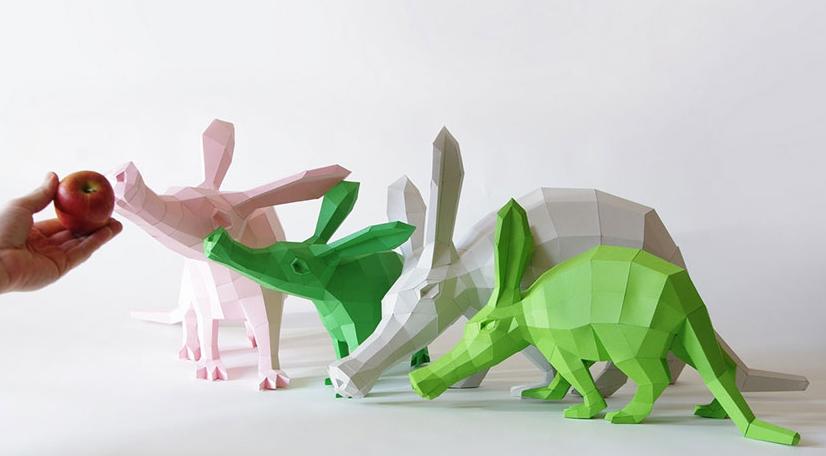 Esculturas hechas con figuras geométricas de papel (Fotos)