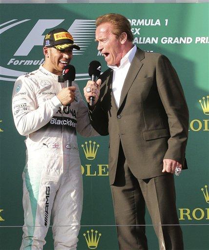 Arnold Schwarzenegger, Lewis Hamilton