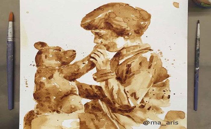 Esta artista prefiere utilizar el café para realizar divertidas ilustraciones