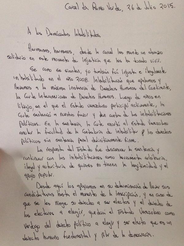 carta de leopoldo lópez