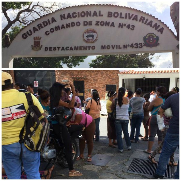 Alrededor de 200 familiares de detenidos en la Cota 905 esperan por información afuera del destacamento 51 de la GNB en El Paraíso. Fotos: @AdrianitaN