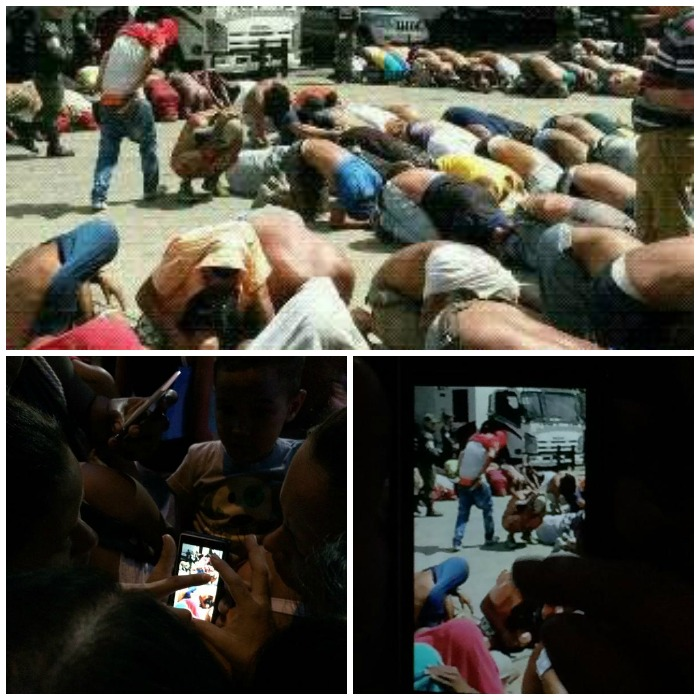 Familiares lloran desconsolados tras ver fotografía que muestra a los detenidos arrodillados, con las caras contra el suelo. Solicitan la presencia de la Defensoría del Pueblo. Fotos: @AdrianitaN