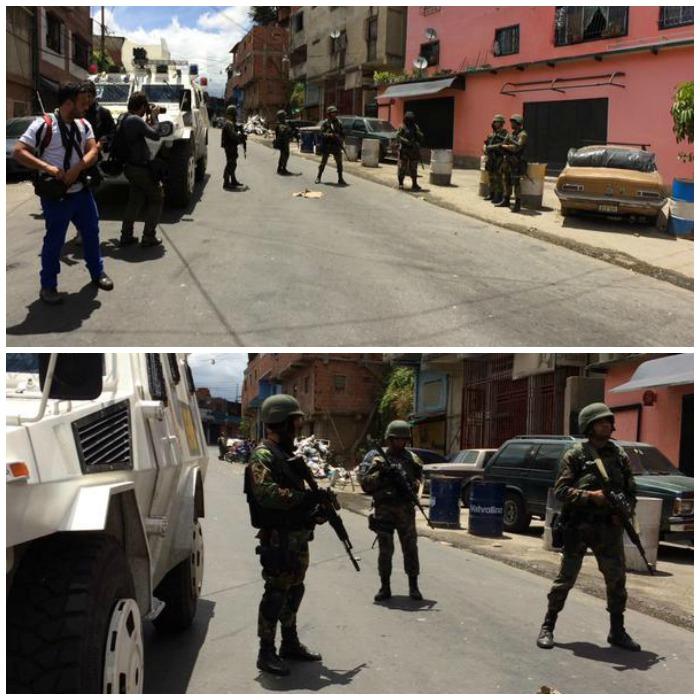 Cordón de la GNB restringe acceso a El Naranjal. Fotos: @AdrianitaN