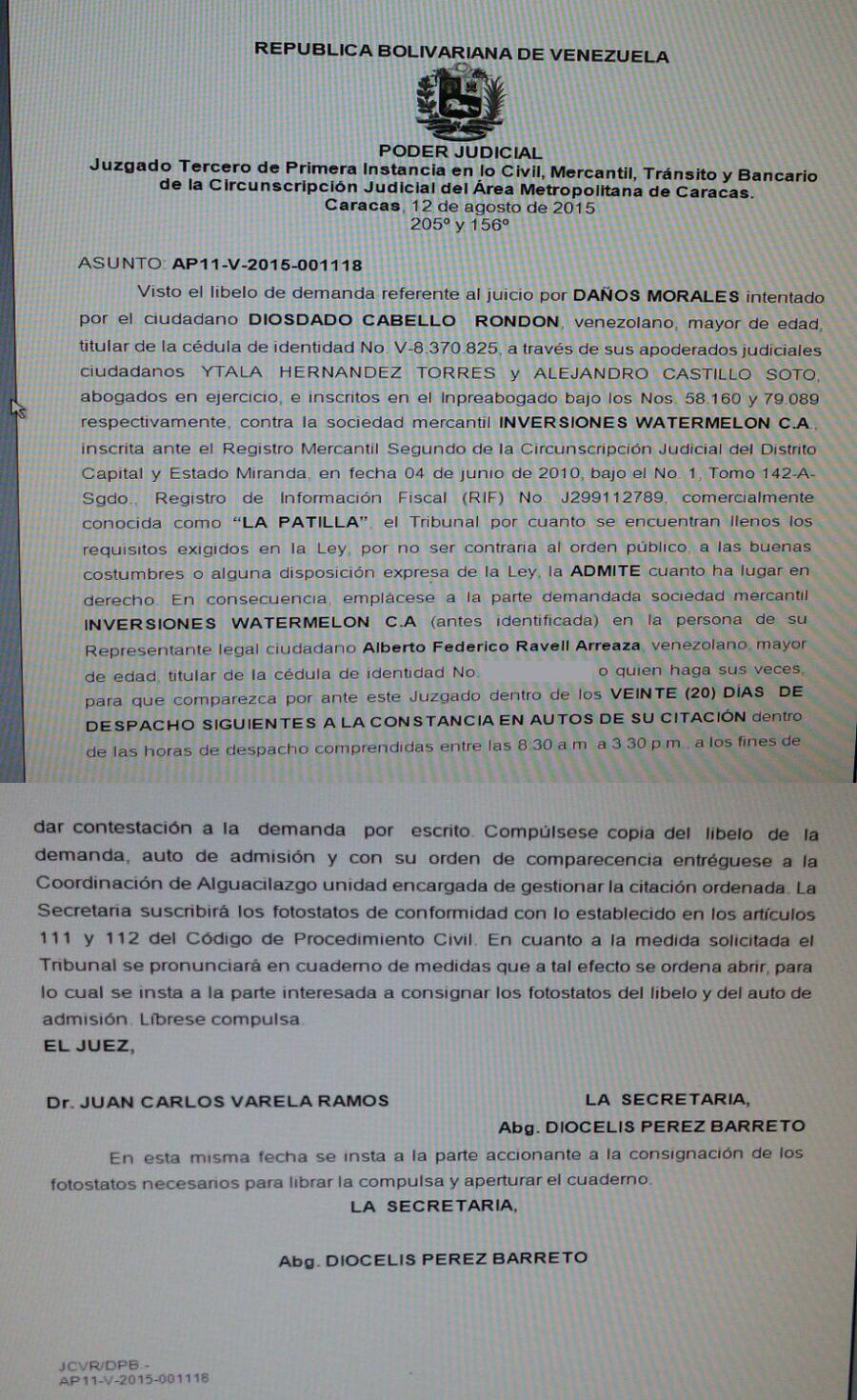 Demanda de Cabello a La Patilla