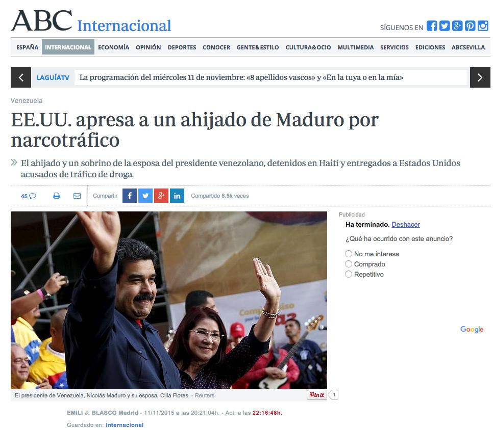 Así reseñó la prensa internacional la noticia sobre familiares de Cilia Flores detenidos por narcotráfico