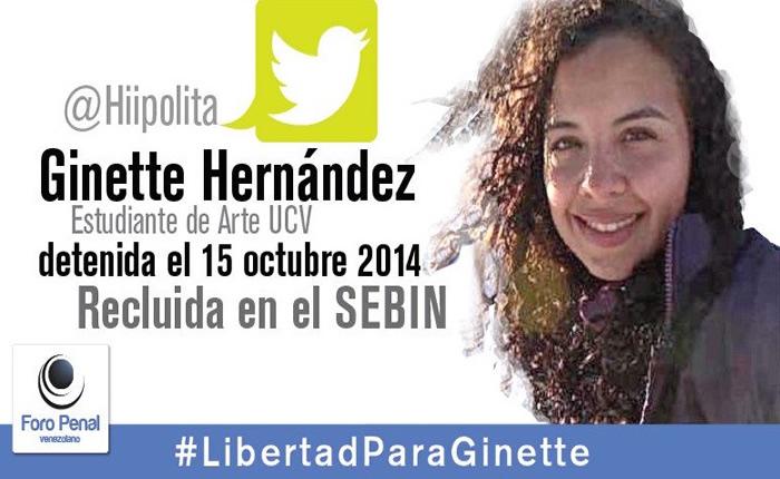 Liberaron a la estudiante Ginette Hernández, presa en el Sebin desde octubre de 2014