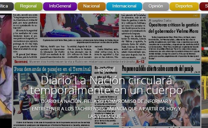 Diario La Nación circulará a un solo cuerpo por falta de papel