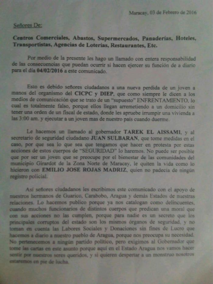 comunicado delincuentes Maracay
