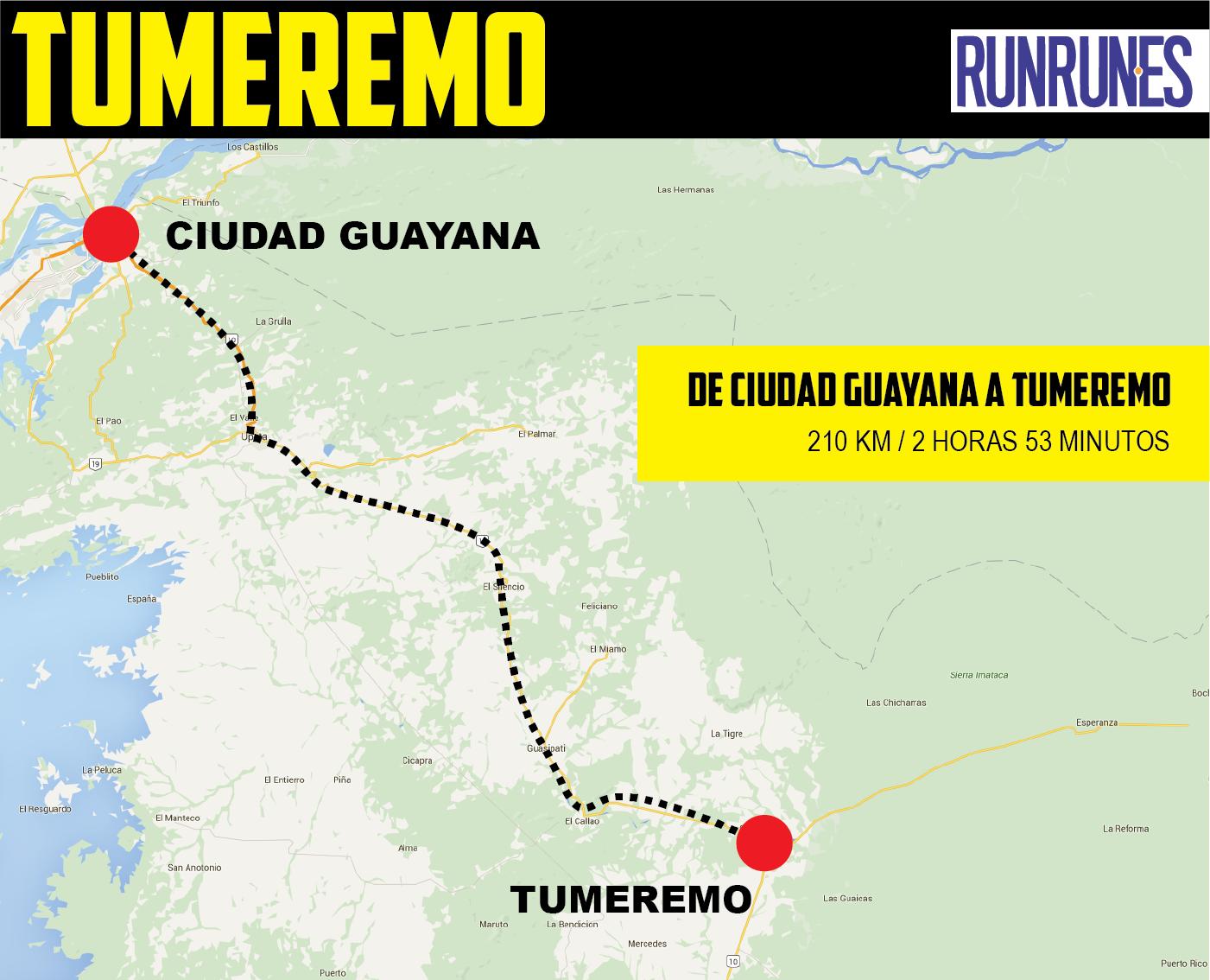 Mapa de Tumeremo