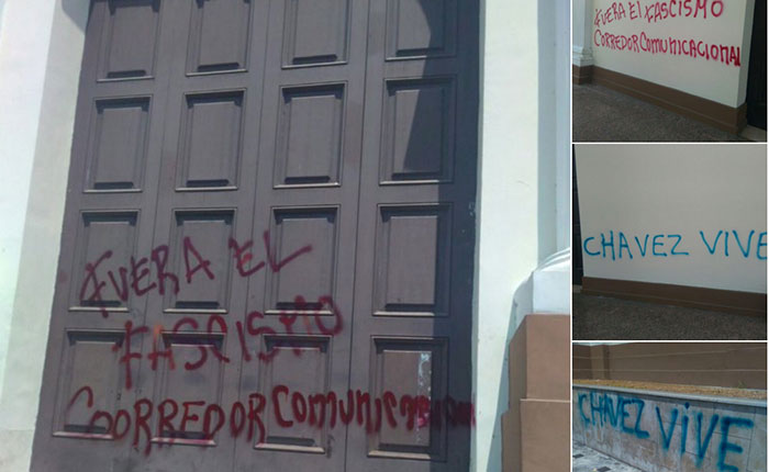 Rayan paredes del Palacio Federal Legislativo con mensajes a favor de Chávez