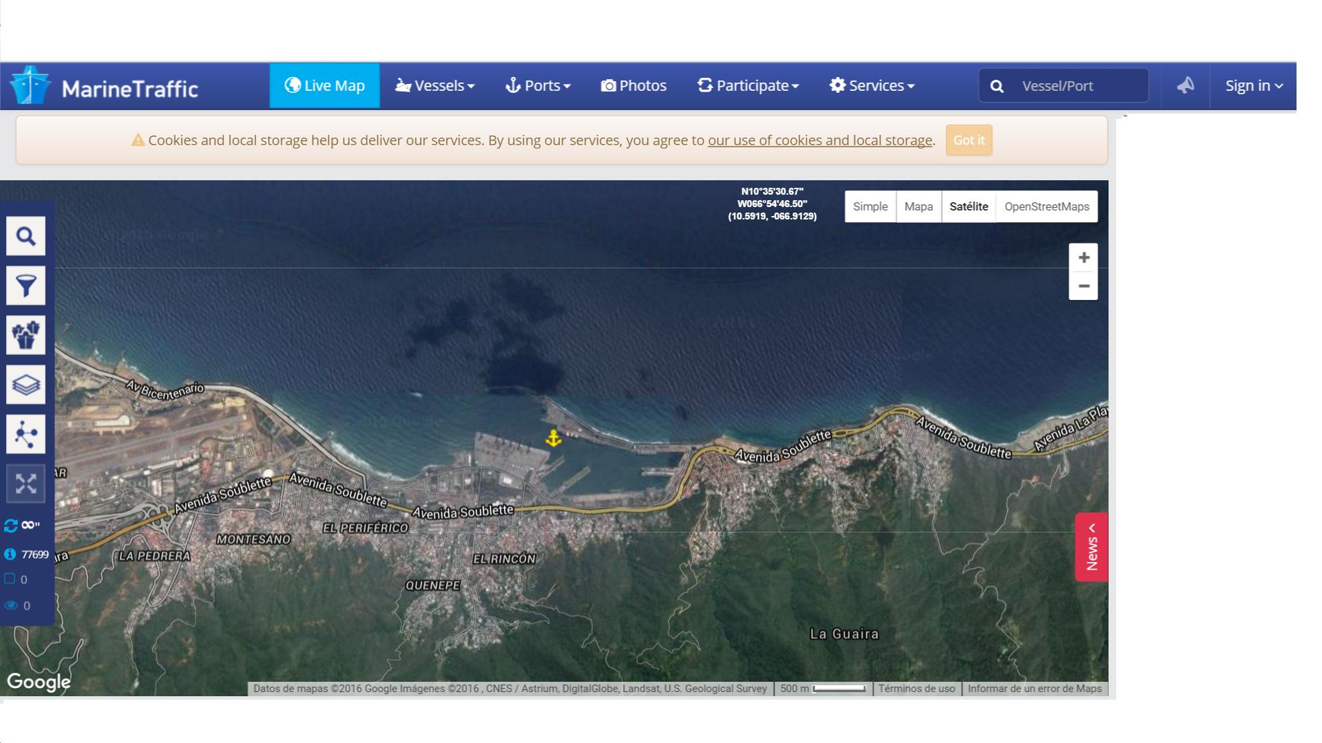 captura satélite puerto la guaira