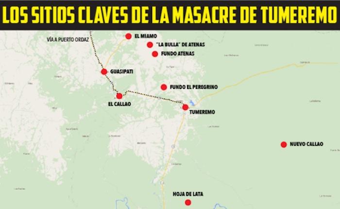 Mapa: Los sitios clave de la masacre de Tumeremo