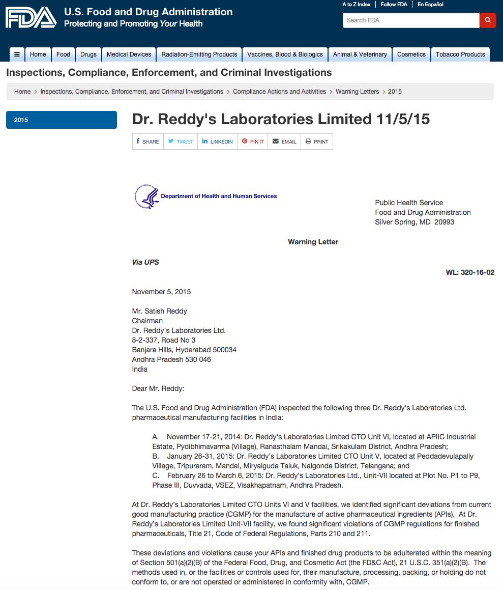 Carta de FDA a Dr. Reddy´s