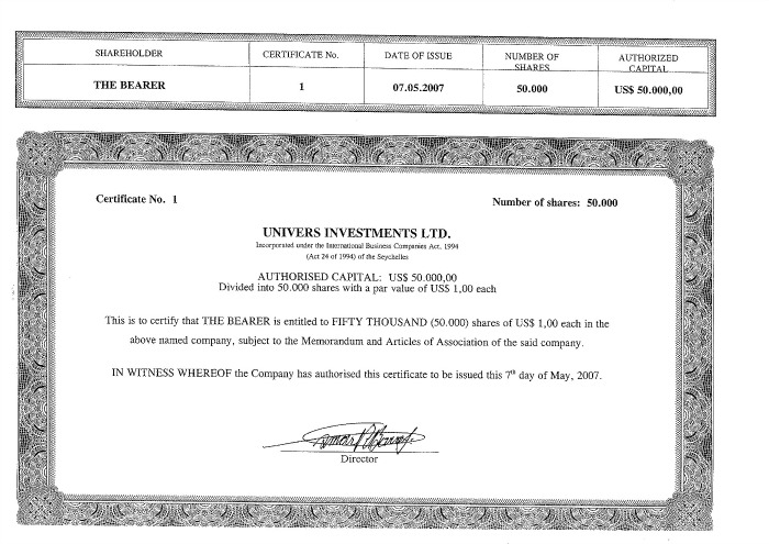 certificado (accion al portador)