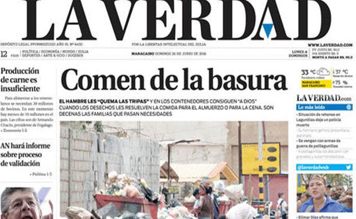 Diario La Verdad dejará de circular por falta de papel