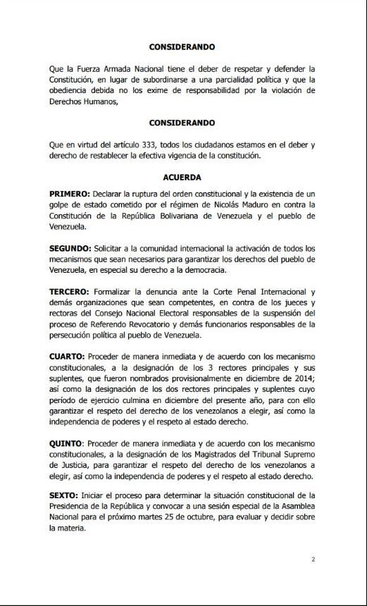 Acuerdo Asamblea Nacional 23O 2