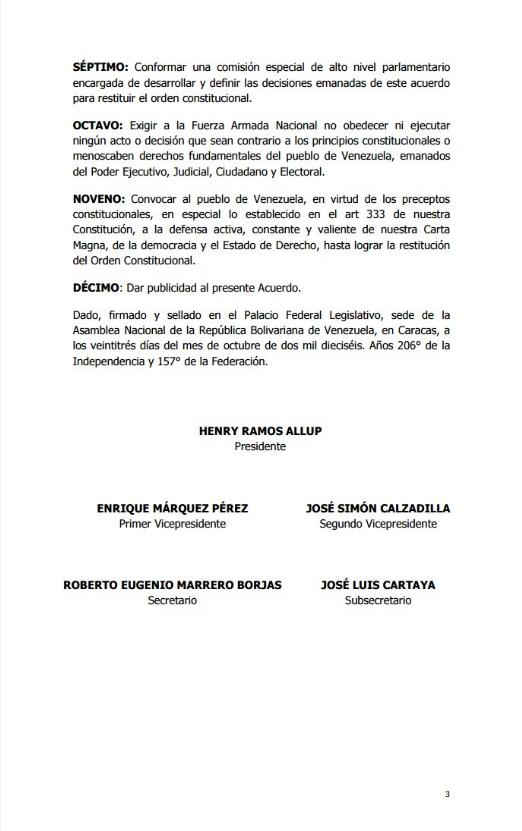 Acuerdo Asamblea Nacional 23O 3