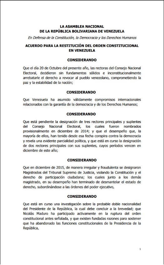 Acuerdo Asamblea Nacional 23O 1