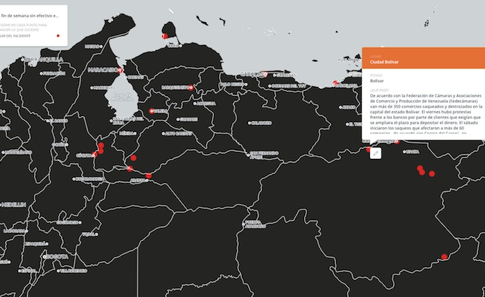 Mapa: Un fin de semana sin efectivo en Venezuela