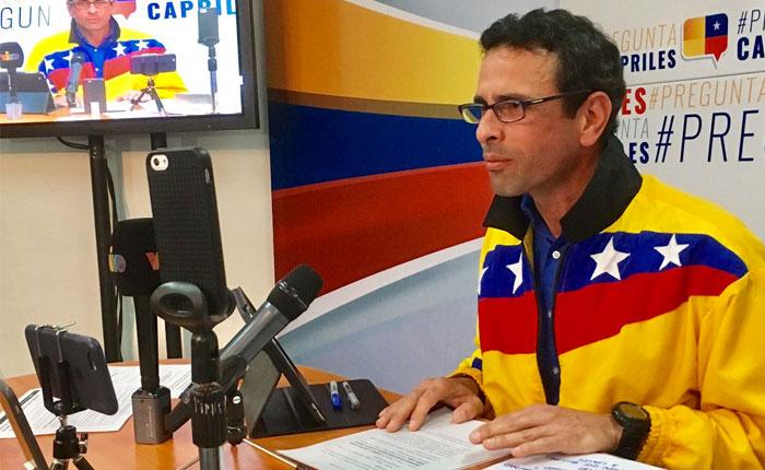 Solicitan a Fiscalía prohibir salida del país al exgobernador Henrique Capriles