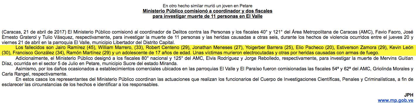 Ministerio Público El Valle 11 muertos