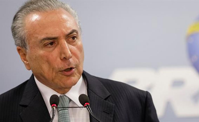 Fiscalía de Brasil pide procesar por corrupción al presidente Temer