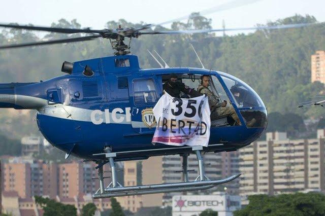 Helicóptero CICPC sobrevolando CCS - Art 350