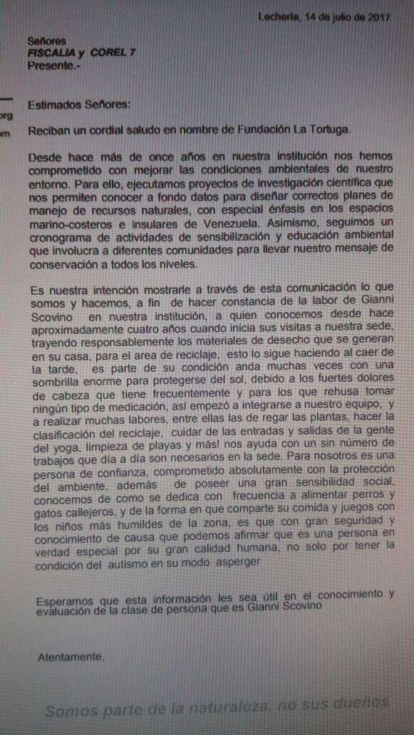 Carta Gianni Scovano Fundación La Tortuga