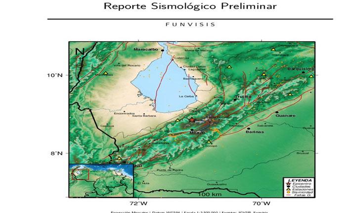 Sismo de magnitud 4,5 se produjo en el estado Mérida