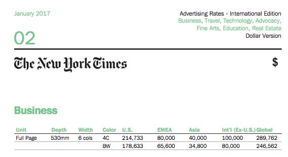 Precio NYT Página Completa