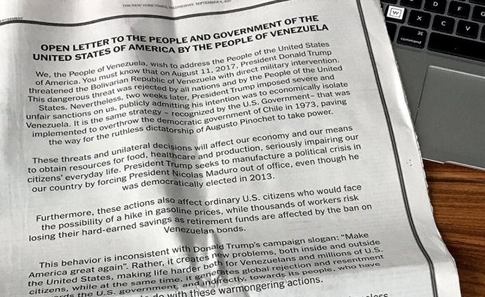 Gobierno de Maduro paga más de $200 mil para publicar carta a nombre de los venezolanos en The New York Times