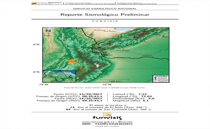 Temblor de 5.1 se registró en el estado Apure