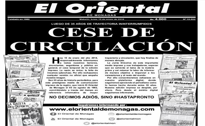 Diario El Oriental de Monagas dejará de circular por falta de papel