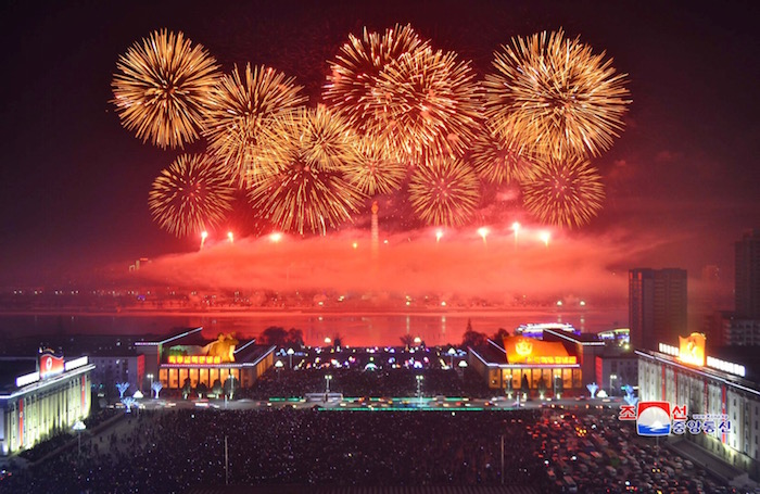 KCNA picture of fireworks during New Year celebrations
