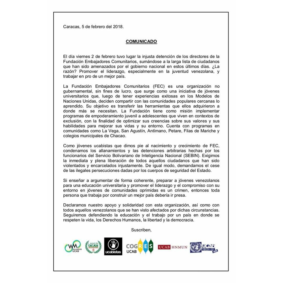 Comunicado ME ucab detención Emb Comunitarios-05FEB