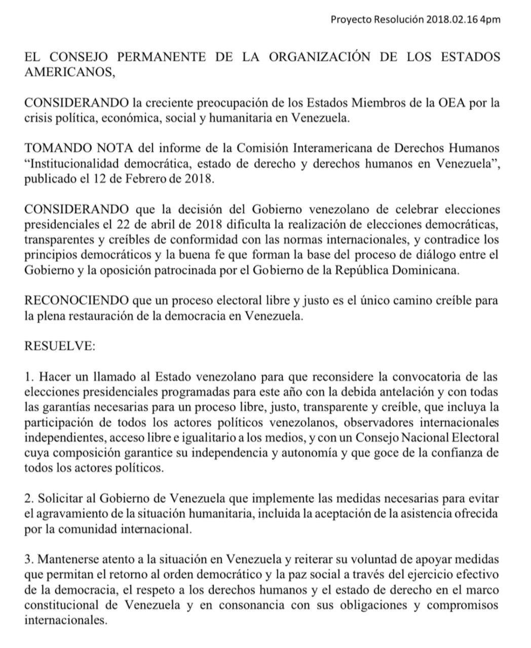 Declaración OEA