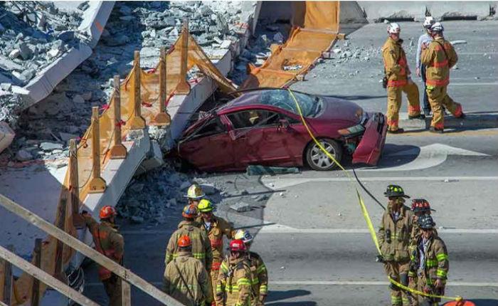 Confirman 6 muertos tras el derrumbe de un puente peatonal en Miami