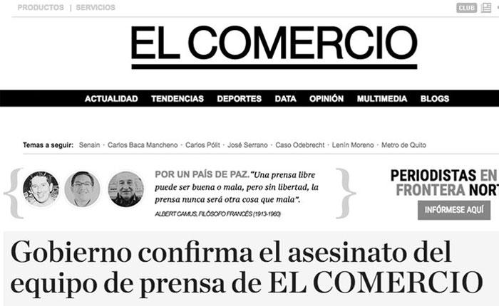 Diario El Comercio se viste de luto tras el asesinato de periodistas ecuatorianos