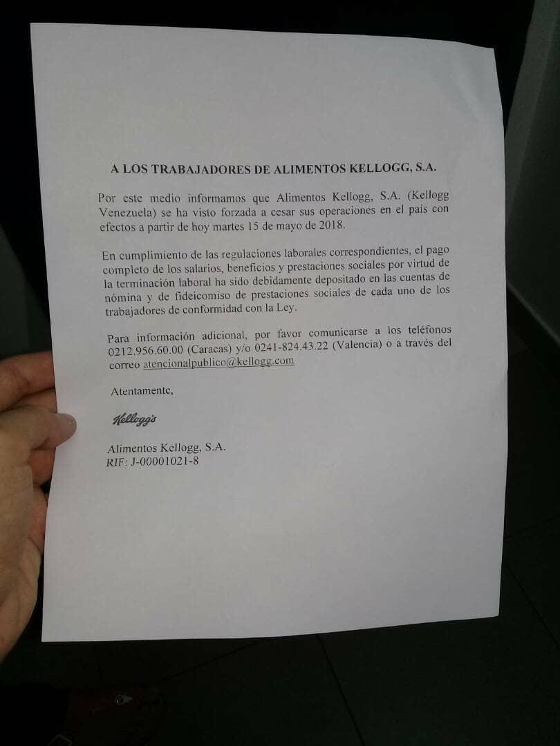 Fedecámaras afirma que Kellogg's pagó a empleados y proveedores