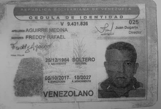 Cédula de Freddy Aguirre